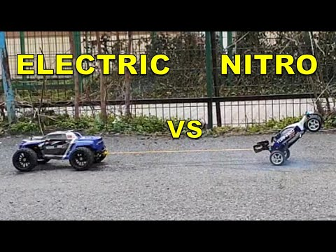 Nitro RC CAR VS Electric RC MONSTER TRUCK (PULL-OFF Challenge) Tug Of War