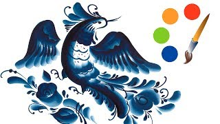 Paint A Bird, Gzhel By Filbert Brush, Blue Decorative Painting, Acrylic Painting