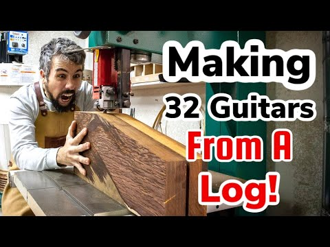 How to turn a Cocobolo log into 32 acoustic guitars!