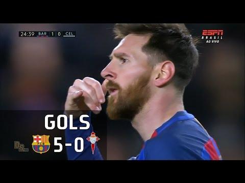 Gols - Barcelona 5 x 0 Celta de Vigo - La Liga 16-17