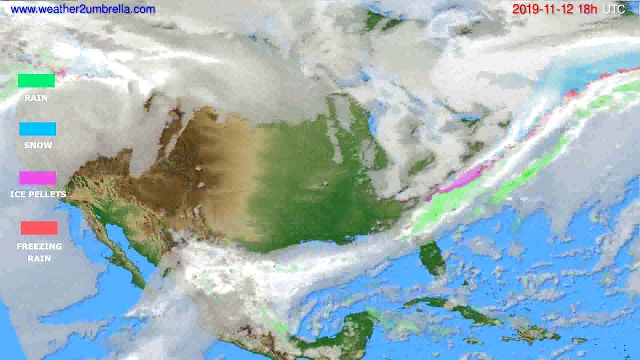Precipitation forecast USA & Canada // modelrun: 12h UTC 2019-11-10