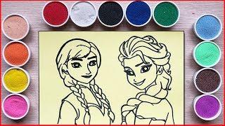 TÔ MÀU TRANH CÁT CÔNG CHÚA ELSA & ANNA - Sand Painting Frozen Elsa Anna (Chim Xinh)