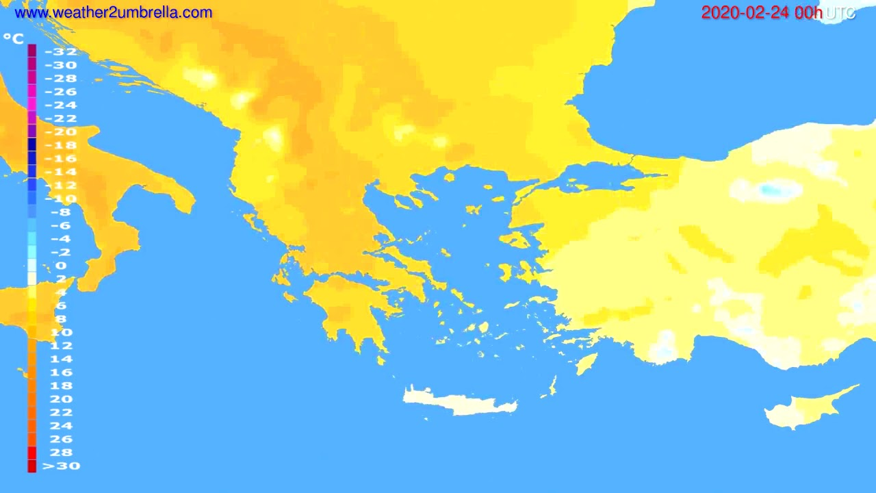 Temperature forecast Greece // modelrun: 00h UTC 2020-02-23