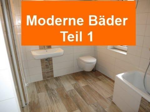 Moderne Bäder Teil1: Feinsteinzeug Holzoptik im Bad