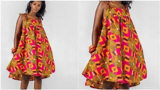 How I Sewed My Flarred Circle Short Dress-African Print