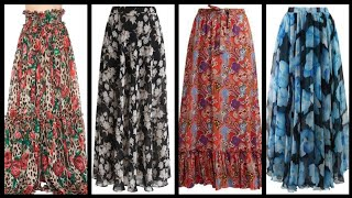Plain Without Lace Decoration Chiffon Printed Full Long Skirts Ideas