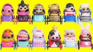 LOL Surprise Dolls Mix Custom Strollers with Lil Sister Fuzzy Pets | Toy Egg Videos