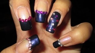 Gemmed Funky French Nail Art Tutorial (Nail Art April #6)