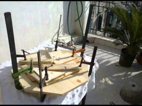 costruzione della seduta di uno sgabello girevole