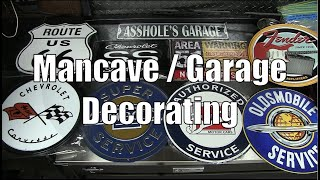 Mancave / Garage Decorating With Metal Car Signs