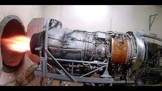 Запуск двигателя АИ-25 на испытательном стенде.