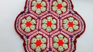 Сидушка на стул из мотивов. Африканский цветок. Вязание крючком для начинающих.