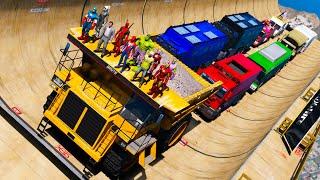 HULK SpiderMan Superheroes Сhallenge RAMP and BIG CARS GTAV ! Человек-паук и Большие Грузовики !
