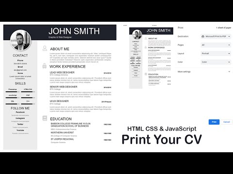 how to create cv in html css & javascript | print button | how to create resume in html | am webtech