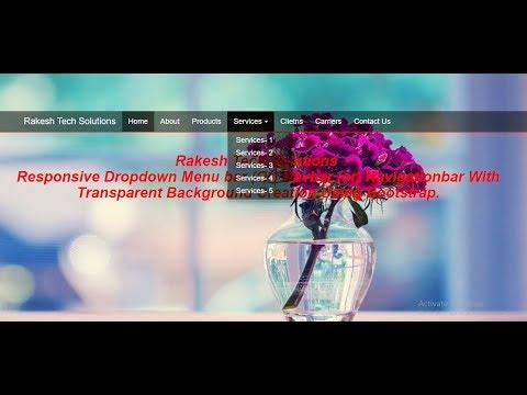 Responsive Dropdown Menubar With Transparent Background Using Bootstrap   Respoansive Navbar