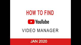 How to Find Video Manager on Youtube in 2020