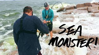 fishing for SEA BEASTS from land in hurricane weather