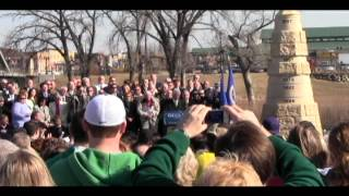 President Bill Clinton's visit at the flood obelisk in downtown Grand Forks