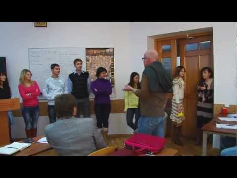 Valery Panyushkin teaches students to sing