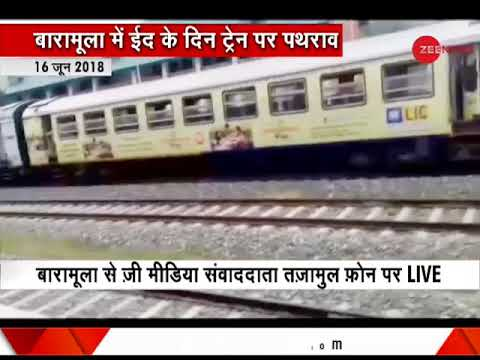 Stone pelters target a local train in Jammu & Kashmir's Baramulla