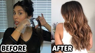 USING A HIGHLIGHTING COMB! At Home Balayage Highlights Dark To Light Transformation