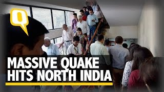 People Vacate Homes Offices After Earthquake Hit North India