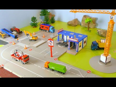 Bagger, Lastwagen, Kran, Traktor, Betonmischer & Trucks - Baustelle für Kinder / Vehicles for Kids