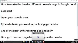 How to make the header different on each page in Google docs?