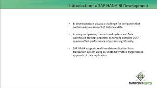 SAP HANA BI Development - Introduction