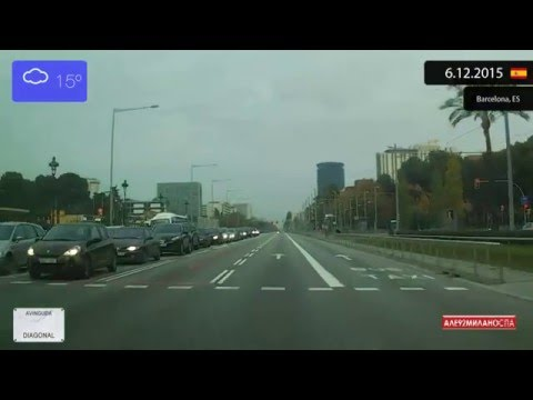 Driving through Barcelona (Spain) from Pedralbes to Montjuïc 6.12.2015 Timelapse x4
