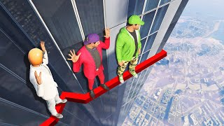 DEADLY BUILDING LEDGE CROSSING CHALLENGE! (GTA 5 Funny Moments)