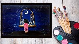 Картина за 10 минут! Видео урок Рисуем гуашью Ночное небо и малыш #Dari Art