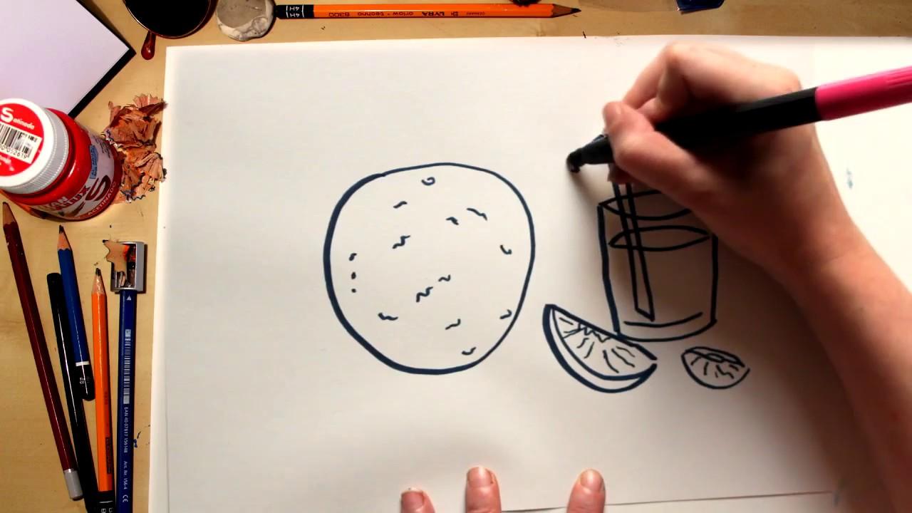 Como desenhar uma Laranja - desenhos de frutas para crianças