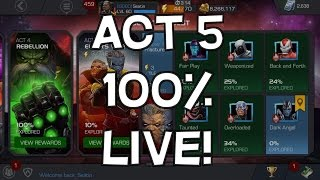 Act 5 Elder's War 100% Clear LIVE Part 1 (1.1,1.2,1.3) - Marvel Contest Of Champions