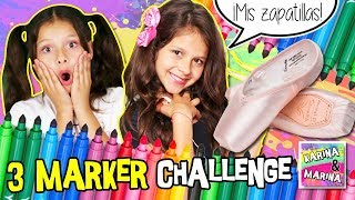 🎨 ¡3 MARKER SHOES CHALLENGE! 🖍 COLOREANDO CON ROTULADORES Traje Y ZAPATILLAS De Mi HERMANA GEMELA