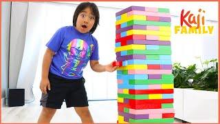 Ryan Pretend Play with Giant Jenga Color Blocks Toys!!!