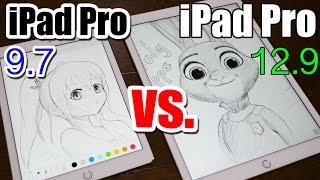 iPad Pro 9.7 vs 12.9 - Apple Pencil DRAWING COMPARISON Which is Better?! - dooclip.me