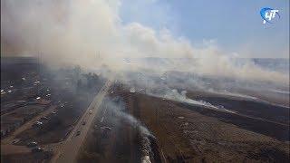 До Ивушек добрался дым от травяного пожара, полыхавшего днём на поле за поселком Волховец