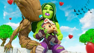 BABY SHE-HULK & BABY GROOT'S FIRST EVER KISS.... ( Fortnite Short )