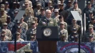 Vice President Pence aboard USS Ronald Reagan (CVN 76) in Japan