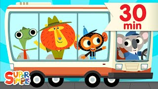 The Wheels On The Bus + More | ft. @Mr. Monkey, Monkey Mechanic | Super Simple Songs