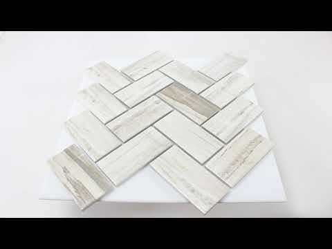 Keramik Holzoptik Mosaikfliesen Norfolk Fischgrät Weiss