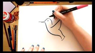Como dibujar un Colibri - dibujos para niños