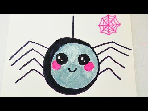 Kawaii Spinne zu Halloween   niedliches Krabbeltier zeichnen für Einladungen und Geburtstagskarten