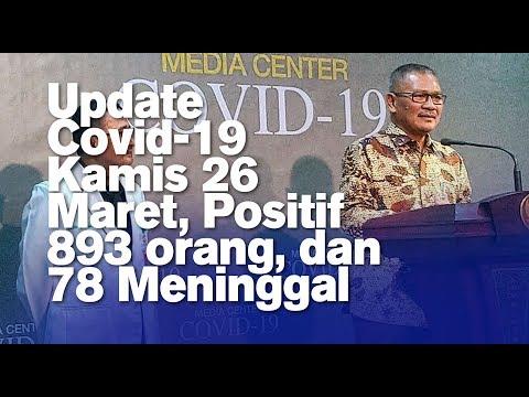Update Covid-19 Kamis 26 Maret, Positif 893 orang, dan 78 Meninggal