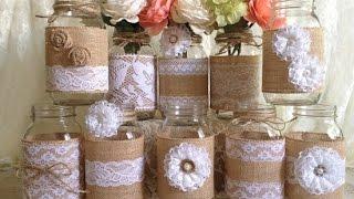 Burlap Mason Jars Wedding