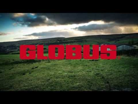 Field with rolling hills with the Globus log superimposed