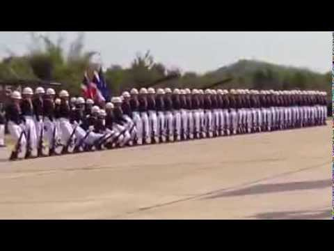 Soldiers marching in a too perfect formation