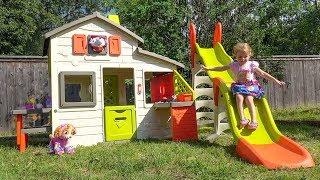 Игрушки Щенячий Патруль и Детский Домик с Горкой Видео для детей Paw Patrol toys play in kids house