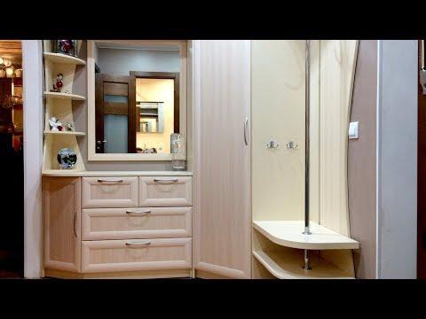 Угловая прихожая на заказ. Мебель в маленький коридор с вешалкой и зеркалом. Дизайн угловой прихожей